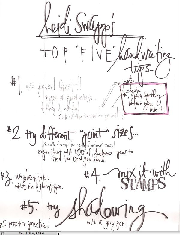 top 5 handwriting tips  (shadow with grey pen.)