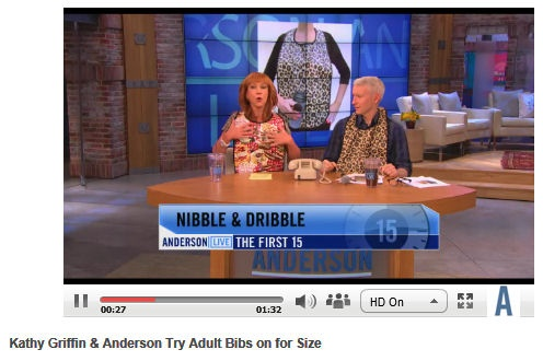 Our adult bibs are tested out by Anderson Cooper and Kathy Griffin on the Anderson Live show yesterday.