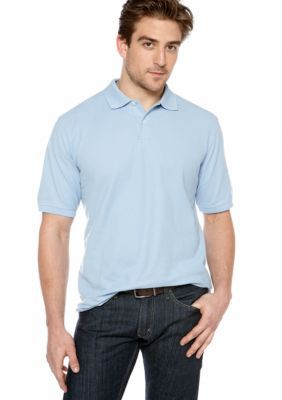 Saddlebred Bllue Solid Pique Polo Shirt