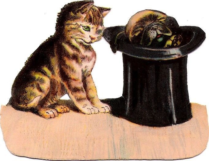 Oblaten Glanzbild scrap die cut chromo  Katze cat  Hund dog  Mops Hut  hat