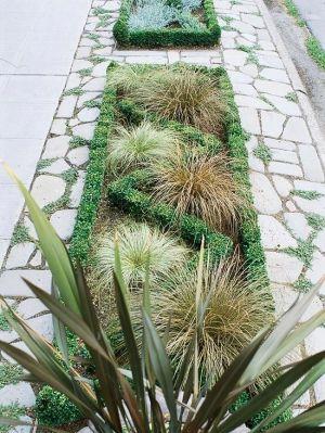 Front Yard Sidewalk-Garden Ideas Make a Statement:   This relatively simple sidewalk garden makes a big statement in a small space. A by bettye