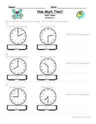 How Much Time Passed Worksheet - To The Half Hour - Have Fun Teaching