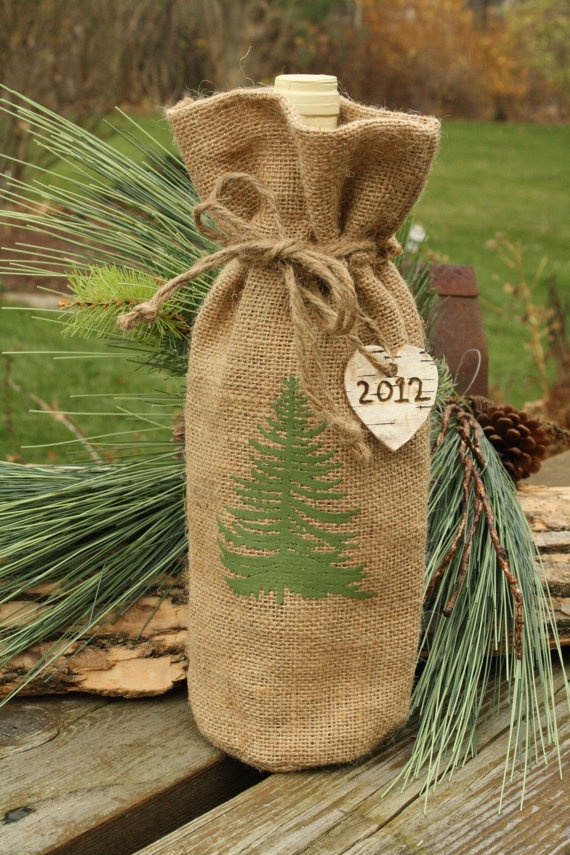 Burlap Wine Bottle Cover with Birch Bark Tag - Christmas