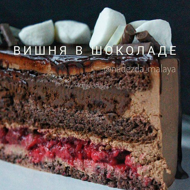 """Ребята, рецепт соблазнительного торта """"Вишня-шоколад"""" ждёт вас ниже, а я ооочень жду ваши лайки❤❤❤#малая_рецепт #малая_рецепт_торт Этот торт станет любимчиком в вашей семье и среди клиентов, я просто уверена, ведь тут Мягенький шоколадный бисквит, пропитанный легкими сливочками Сырный шоколадный крем невероятно сливочный и гладкий Кисленькое Ягодное сердечко. Это не просто резиновое желе, нет! Крахмал делает этот слой очень нежным Слой упругого шоколадного мусса . . Ну как, соблазни..."""