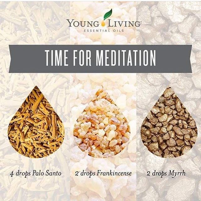 Essential oil combination for diffusing during prayer or meditation. Palo Santo, Frankincense & Myrrh from Young Living.
