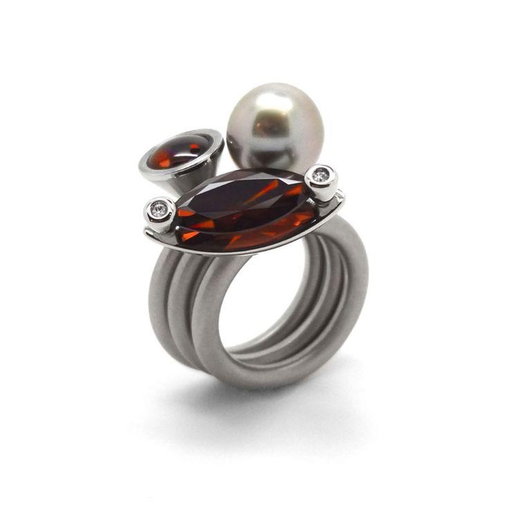 Pur Swivel - Madeira Topaz & Diamond Duett Ring Set - ORRO Contemporary Jewellery Glasgow - www.ORRO.co.uk