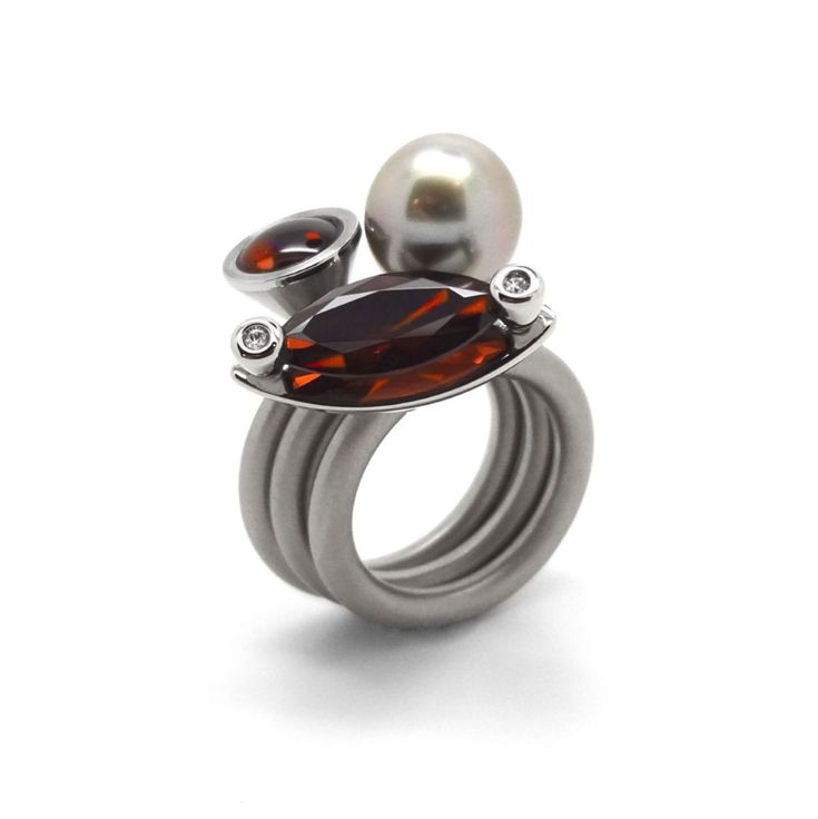 Pur Swivel - Madeira Topaz & Diamond Duett Ring Set - ORRO Contemporary Jewellery Glasgow - www.ORRO.co.uk