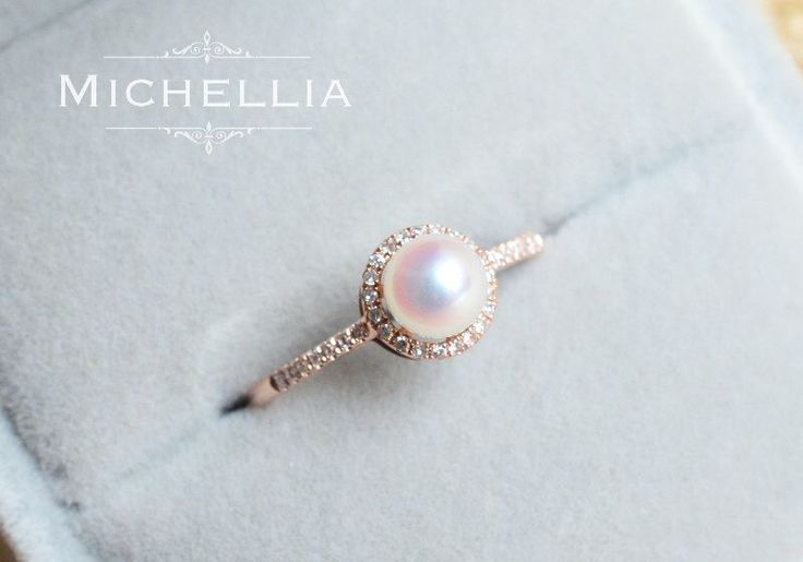 14K/18K Saltwater Pearl Engagement Ring with Halo Diamond, Rose Gold Pearl Ring, Freshwater or Akoya Pearl, Promise Ring,Bridal Wedding Gift by MichelliaDesigns on Etsy https://www.etsy.com/ca/listing/263929832/14k18k-saltwater-pearl-engagement-ring