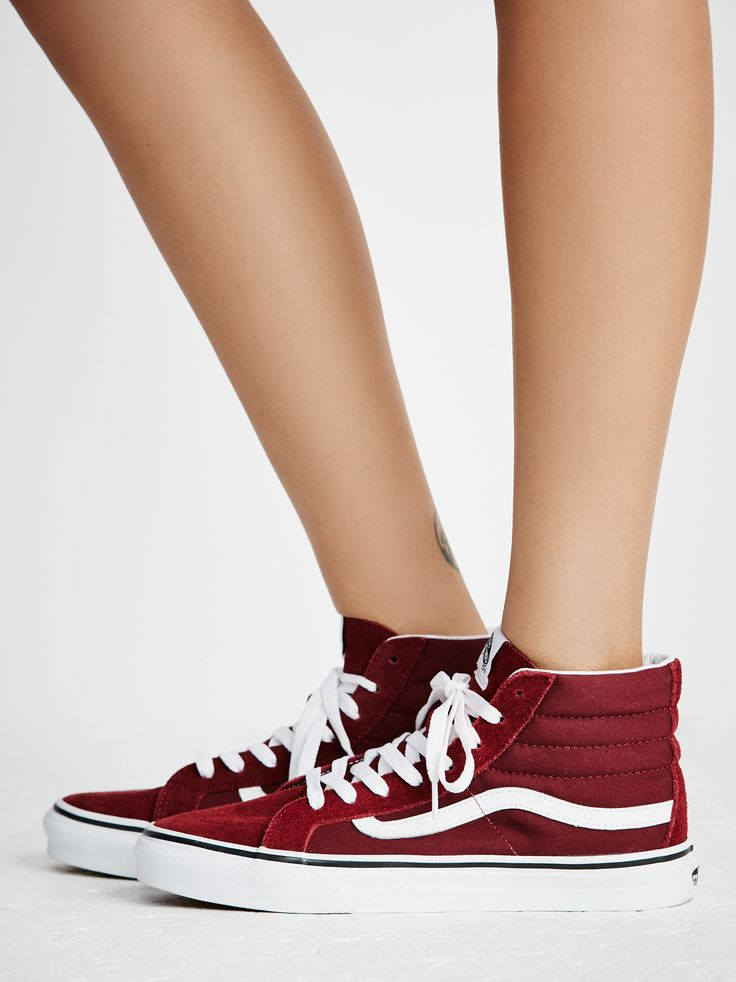 $65 Sk8-Hi Slim Hi Top Sneaker   Super sporty and classic Vans Sk-8 sneaks featured in a high-top silhouette. Suede and canvas upper and lace-up detailing. Sturdy rubber sole for ultra-comfortable wear.