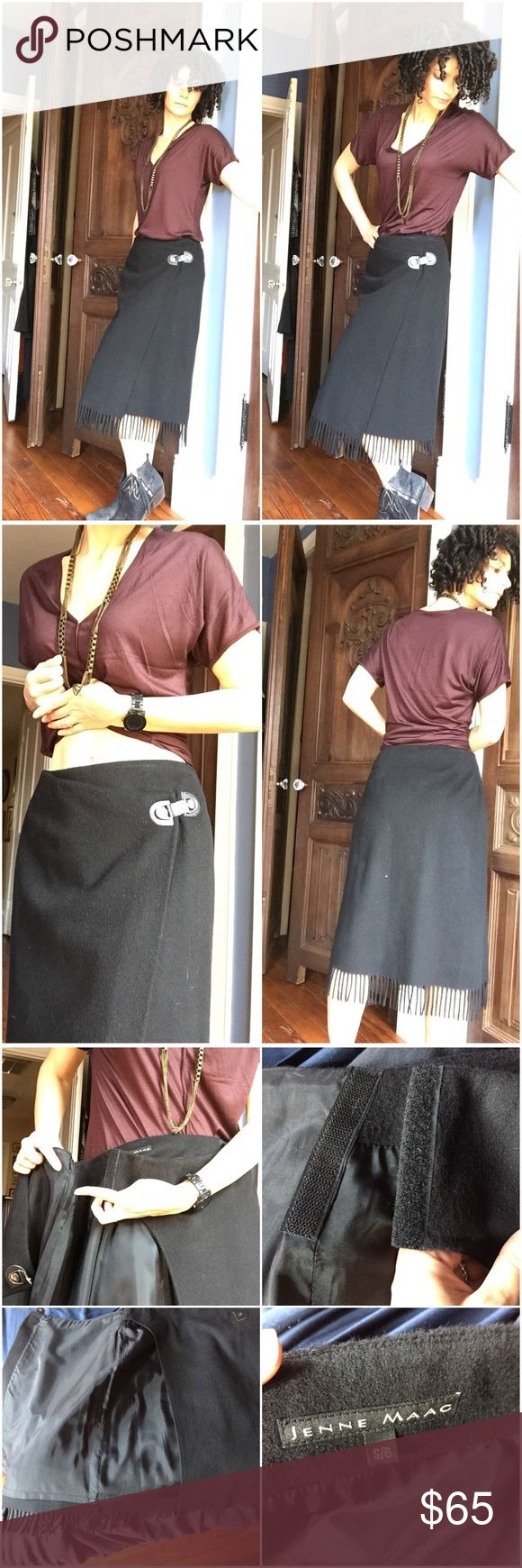 """🍒Jenne Mac Wool Wrap Fringe Skirt Perfect for cooler months and oh so unique and versatile. I love the hardware (which actually does snap) and the Velcro provides some flexibility with where on your waist & hips you can wear it. I have 38"""" hips for reference and I usually wear a size 27 in jeans though. T by Alexander Wang shirt is also for sale in my closet. jenne mac Skirts"""