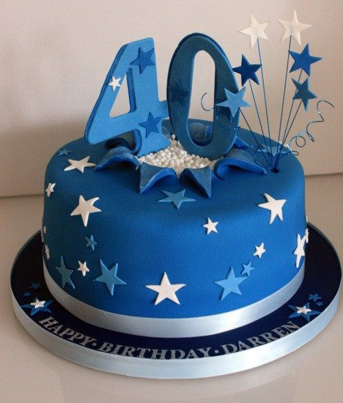 40th Blue Powder Birthday Cakes Ideas