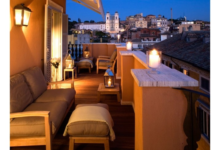 Roof terrace at Portrait Suites hotel in Rome, Italy