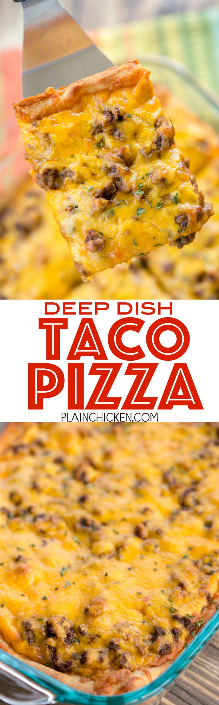 Deep Dish Taco Pizza - seriously delicious!! A fun twist to taco night. Refrigerated pizza crust topped with refried beans, taco sauce, taco hamburger meat and cheese. Top pizza with your favorite taco toppings!! Everyone loved this pizza and asked to have it again this week! Such an easy weeknight dinner recipe! Pizza plus Tacos equals HEAVEN!!!