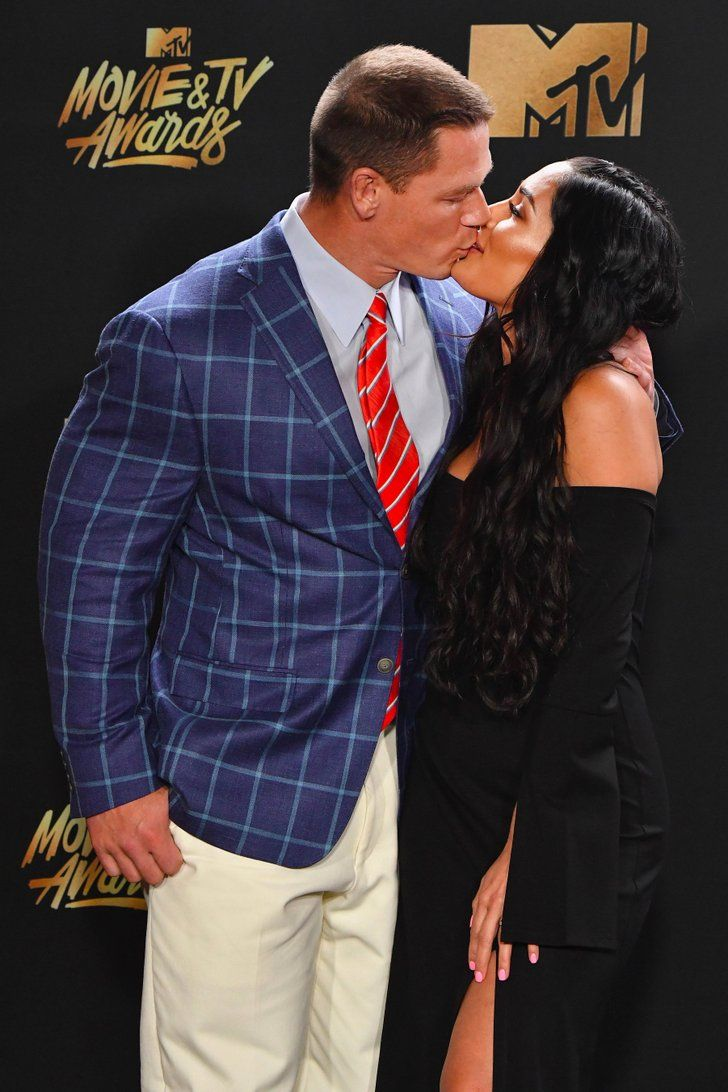 John Cena & Nikki Bella Couldn't Keep Their Hands Off Each Other at the MTV Movie and TV Awards