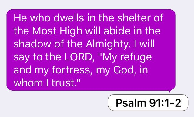 """Psalm 91:1-2: He who dwells in the shelter of the Most High will abide in the shadow of the Almighty. I will say to the LORD, """"My refuge and my fortress, my God, in whom I trust."""""""