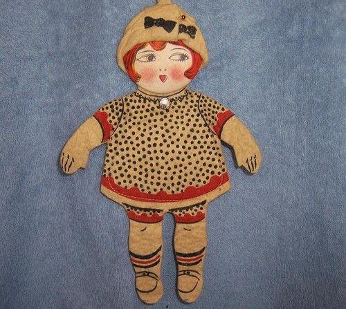 Child's 1920's Antique Felt Cloth Doll Purse