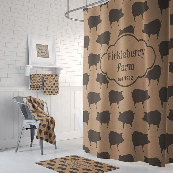 Farmhouse Chic Personalized Pig Shower Curtain Bath Mat Bath