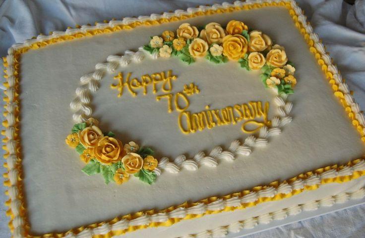Half Sheet Cake For A 70th Wedding Anniversary!