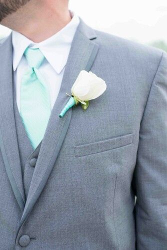 My wedding flowers! Tiffany blue Grey Tux