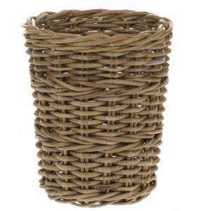 The muted colours of this grey rattan round wastepaper basket are very contemporary and would look lovely in any home. Slightly larger than a standard wastepaper basket, this basket could also be used as a small log or kindling basket. Stand it alongside one of our larger grey rattan baskets for a matching sets. Would also be handy as a magazine basket. Rattan is considered to be one of the strongest woods available, since its grain grows vertically instead of forming the concentric rings of…