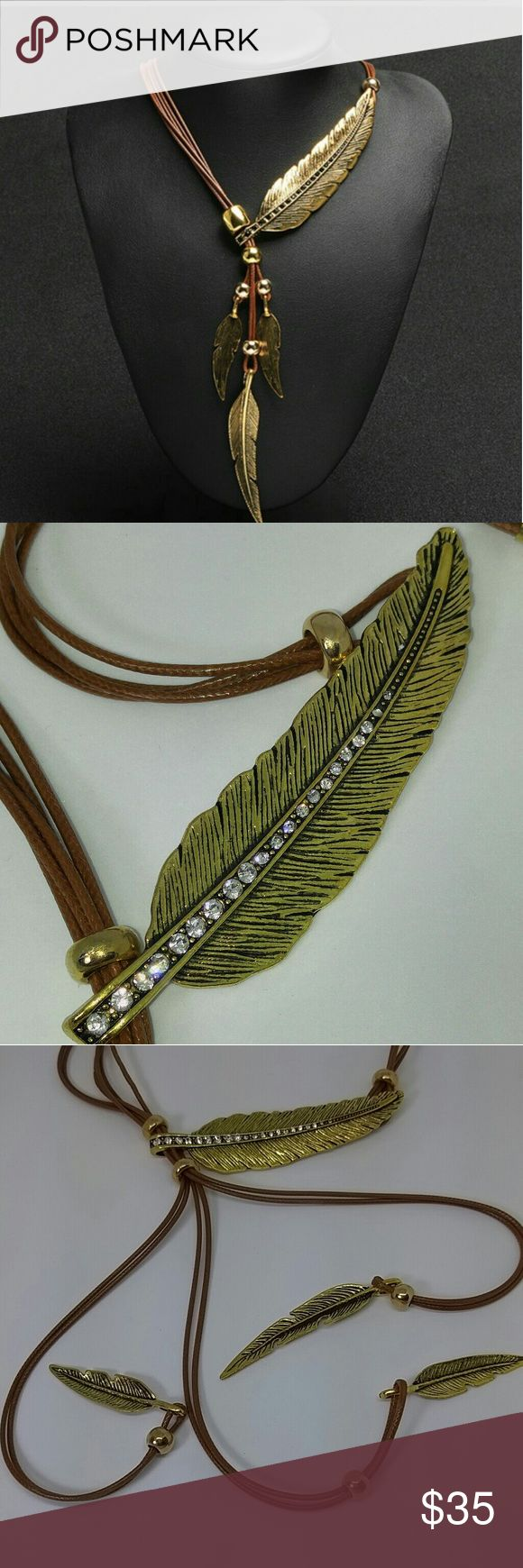Gold feather choker/expandable Leather necklace Beautiful choker/expandable gold tone feather leather necklace, new Jewelry Necklaces