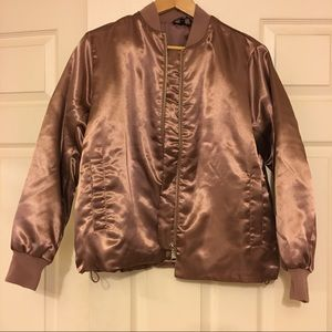 Topshop Jackets & Blazers - Topshop Satin Rose Gold Bomber Jacket