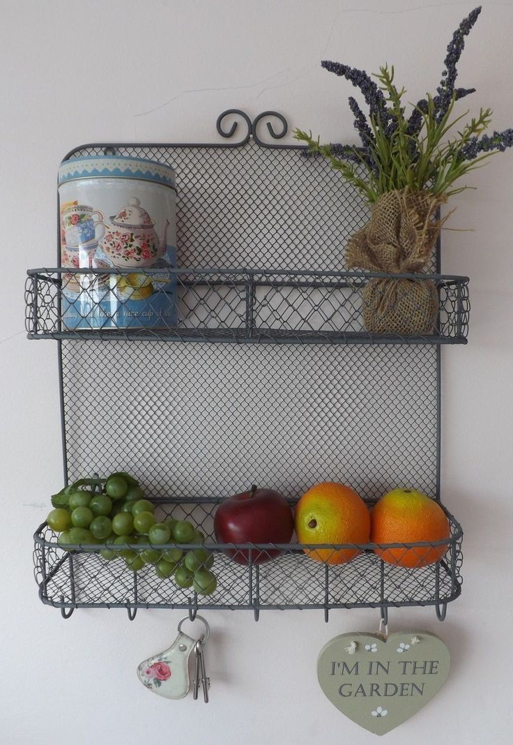 Rustic 2 Tier Wire Wall Storage Shelves Baskets Rack Hooks Kitchen Garden  Shed