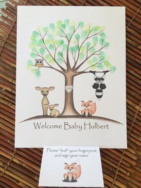 PRINTABLE! baby shower printable, personalized Thumb print tree, Fingerprint guest book, neutral woodland themed baby shower guestbook - pinned by pin4etsy.com