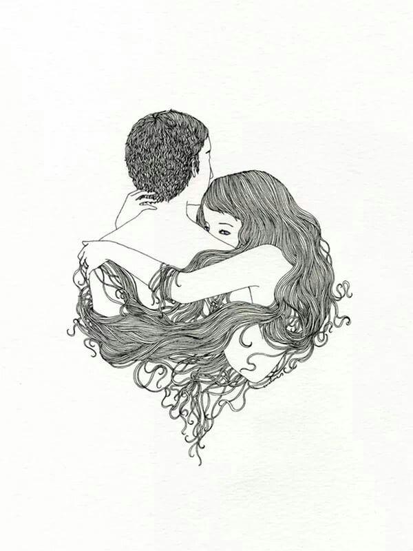 Картинки влюбленных пар со спины нарисовать