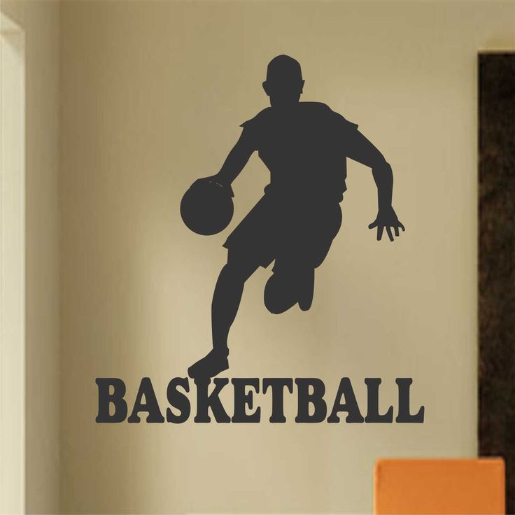 Vinyl Wall Lettering Sports Large Basketball Player Kids Room Decal