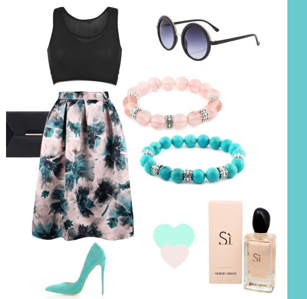 Outfit of the day :)  #outfit#outfitoftheday#maronii#bracelet#silver#blueandpink#modern#style#stone#natural#armani#glases#bag#skirt#croptop