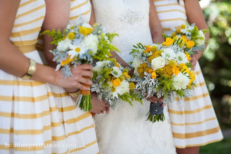 Weddings - Yellow & grey inspiration - great bridesmaids dresses