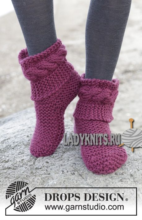 "Вязаные спицами женские носки ""Виолетта"" от Дропс"