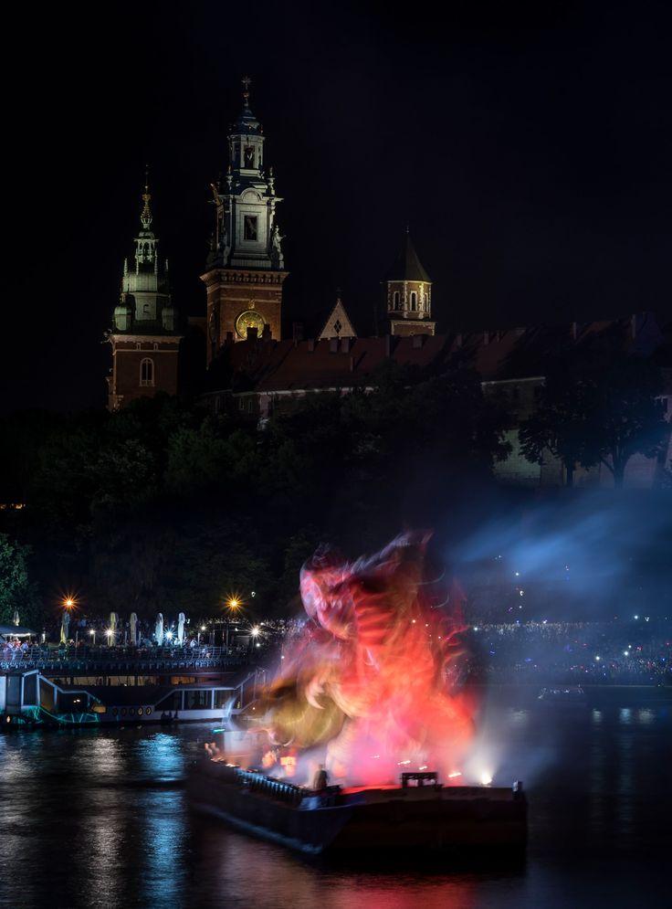 Dragons parade - Dragons parade on Vistula river. Krakow, Poland