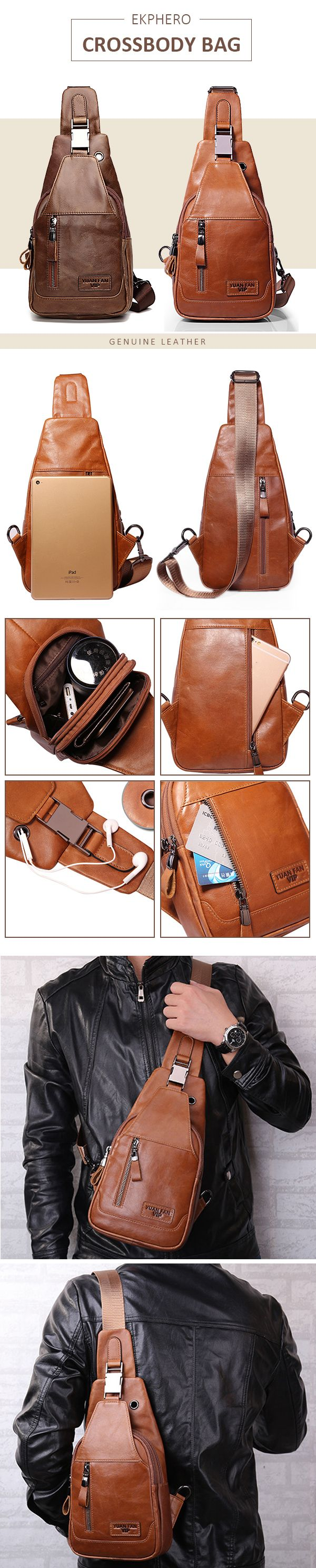 Crossbody Bags:Ekphero Men Genuine Leather Shoulder Bag Vintage Chest Bags Crossbody Bags