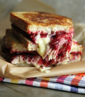 Roast, Blue Brie and Cranberry Chutney Grilled Cheese