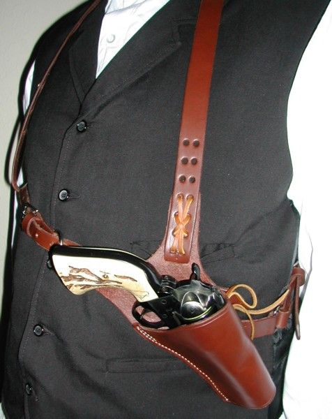 Authentic custom handgun grips, holsters, spurs, clothes, 1800s and 1900s cowboy gear, and much more - Huckleberry Shoulder Rig