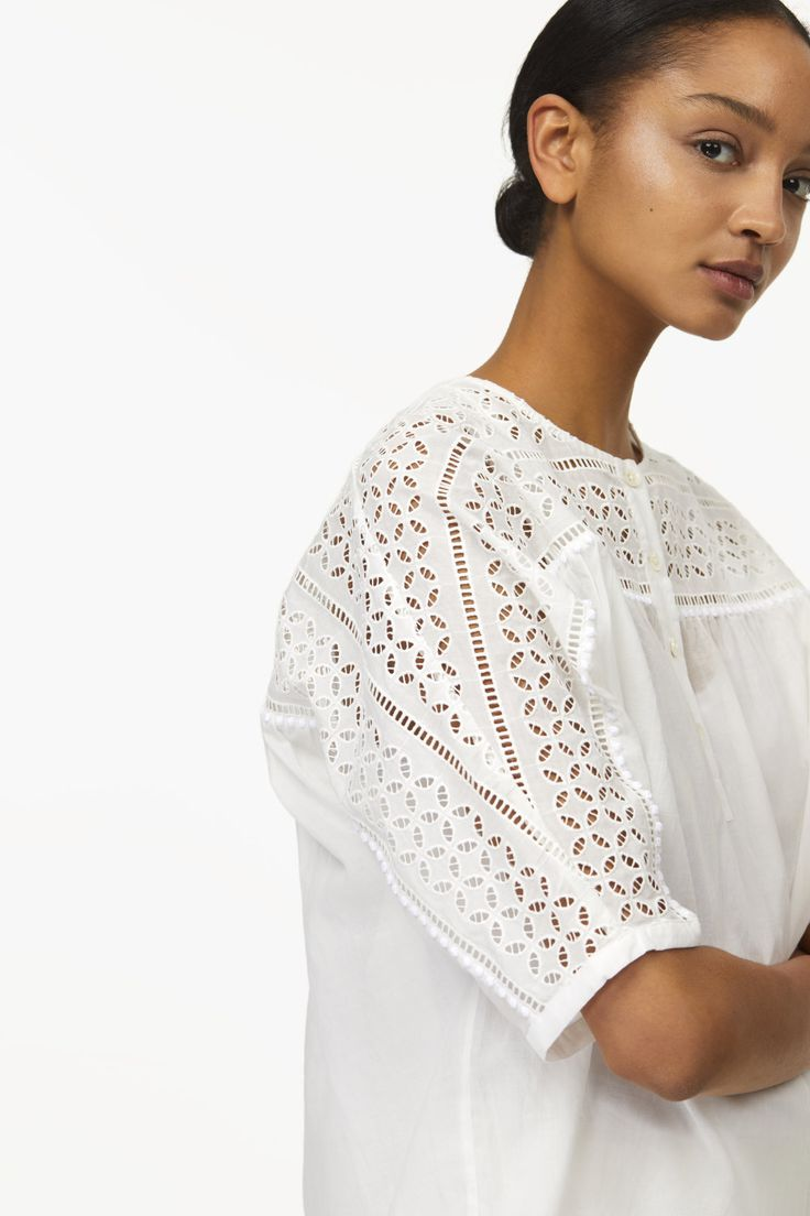 SHIRT BLOUSE WITH BRODERIE ANGLAISE   CLOSED