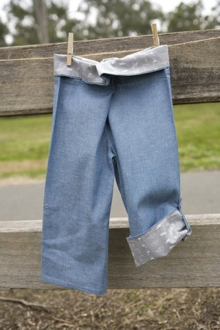 SALE $19.98 - Boy's Wrap Pants (Pets and Petals) 100% cotton UPF 20. These are our take on the Thai fishing pant. They are lightweight and super comfy. These pants are fastened with adjustable velcro, so they're easy to do up, even for those still in nappies or toilet training. The bottom of the legs can be rolled up and buttoned so they can also be worn as a ¾ pant. They are 100% Australian made and designed with sun protection in mind.  www.shadydays.com.au