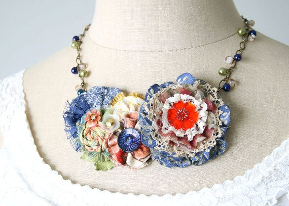 Colorful Statement Necklace Fabric Flower door rosyposydesigns, $68.00