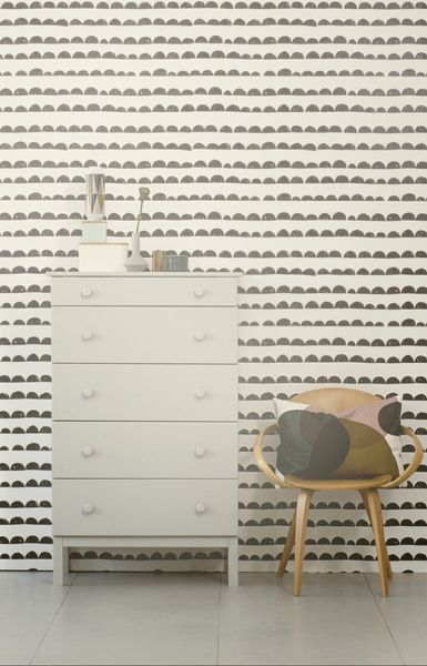 Ferm Living Shop — Half Moon Wallpaper for one wall in baby room... but means bedding is very tame right?