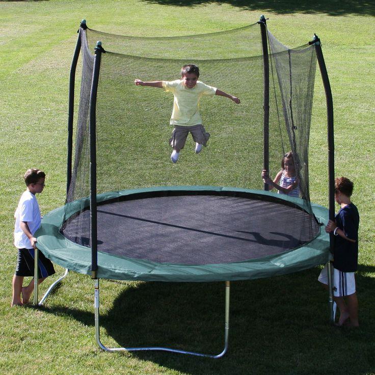skywalker trampolines round trampoline with safety enclosure green