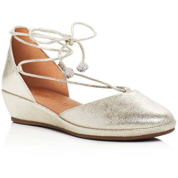 Gentle Souls Nerissa Metallic Lace Up Wedge Pumps (€190) ❤ liked on Polyvore featuring shoes, pumps, soft gold, metallic gold shoes, metallic shoes, wedges shoes, gold wedge pumps and laced shoes