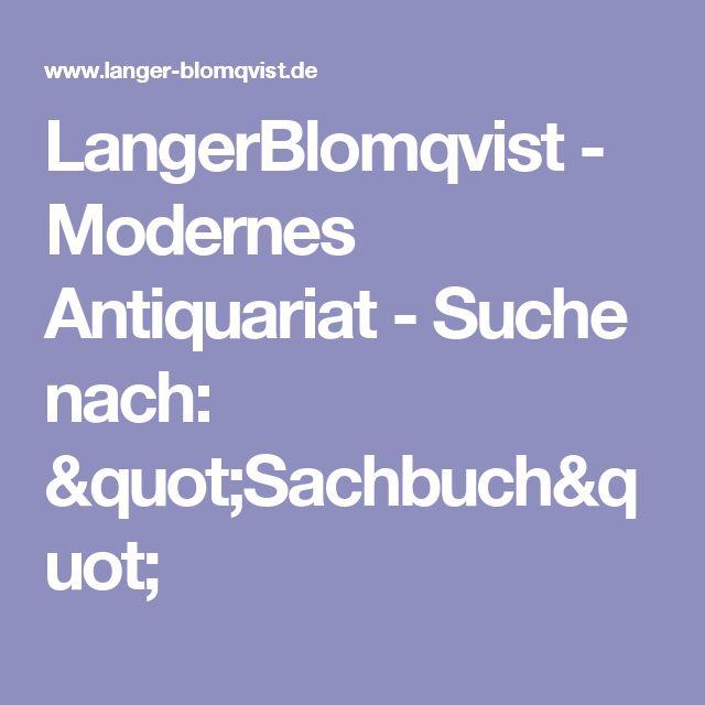 "LangerBlomqvist - Modernes Antiquariat - Suche nach: ""Sachbuch"""