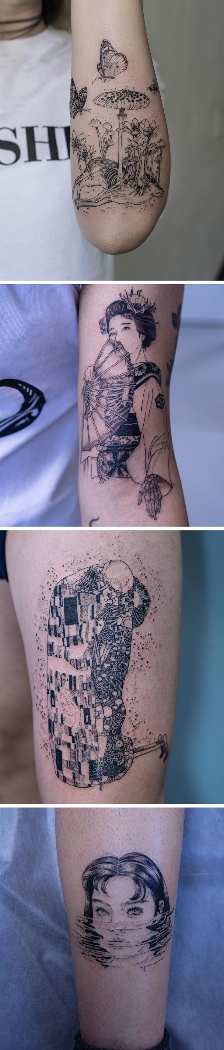 Black and White Figural Tattoos With a Macabre Twist by Korean Tattoo Artist Oozy