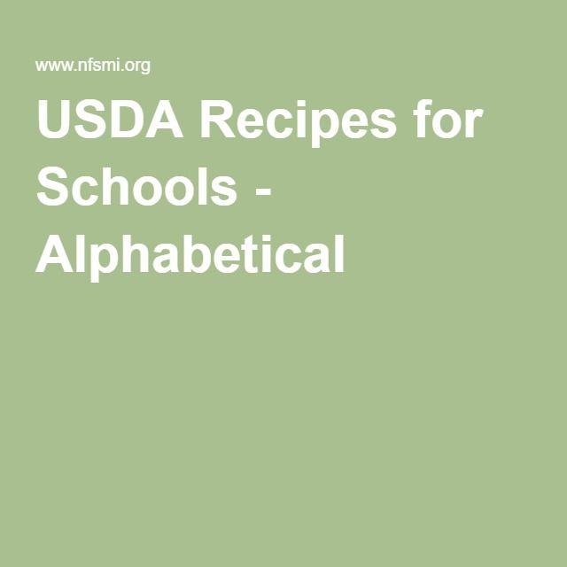 USDA Recipes for Schools - Alphabetical!!!