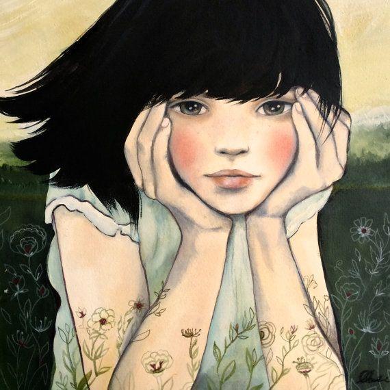 Waiting for spring 8 x 8 inches art print by claudiatremblay, $20.00. Me han dicho que me parezco a ella.