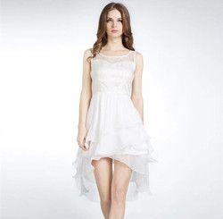 Women Simple Casual Dresses Hollow Out Organza White Chiffon Dress ALX-MDINI