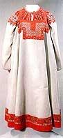 "White linen ""nasova"" sarafan over white linen shirt, both embroidered and appliqued. Tver region, Nelidov, XIX"