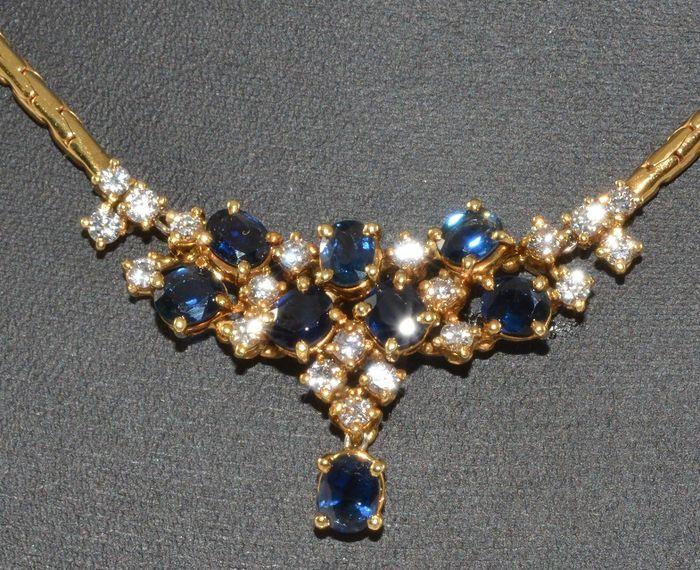 Online veilinghuis Catawiki: 18ct geelgouden ketting met diamanten en saffieren. Geen reserveprijs